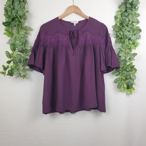 Lucky Brand Butterfly Sleeve Tie Front Blouse